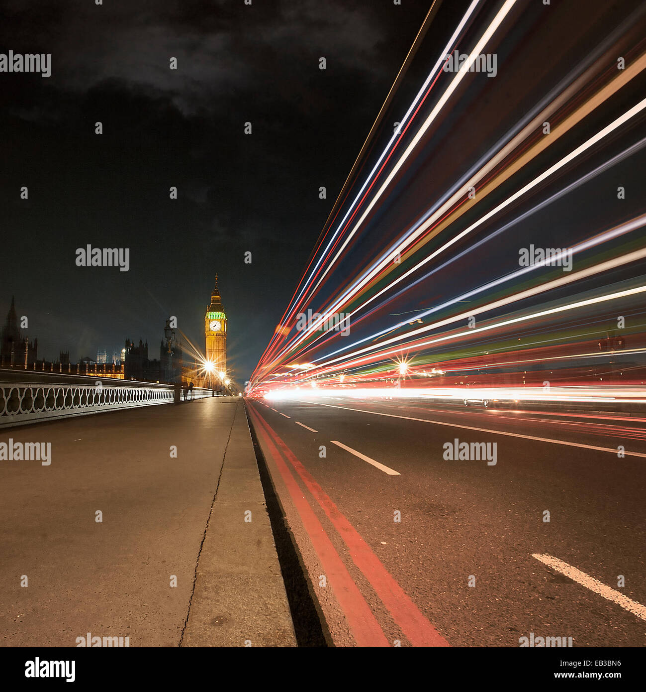 UK, England, London, Light trail on Westminster Bridge - Stock Image
