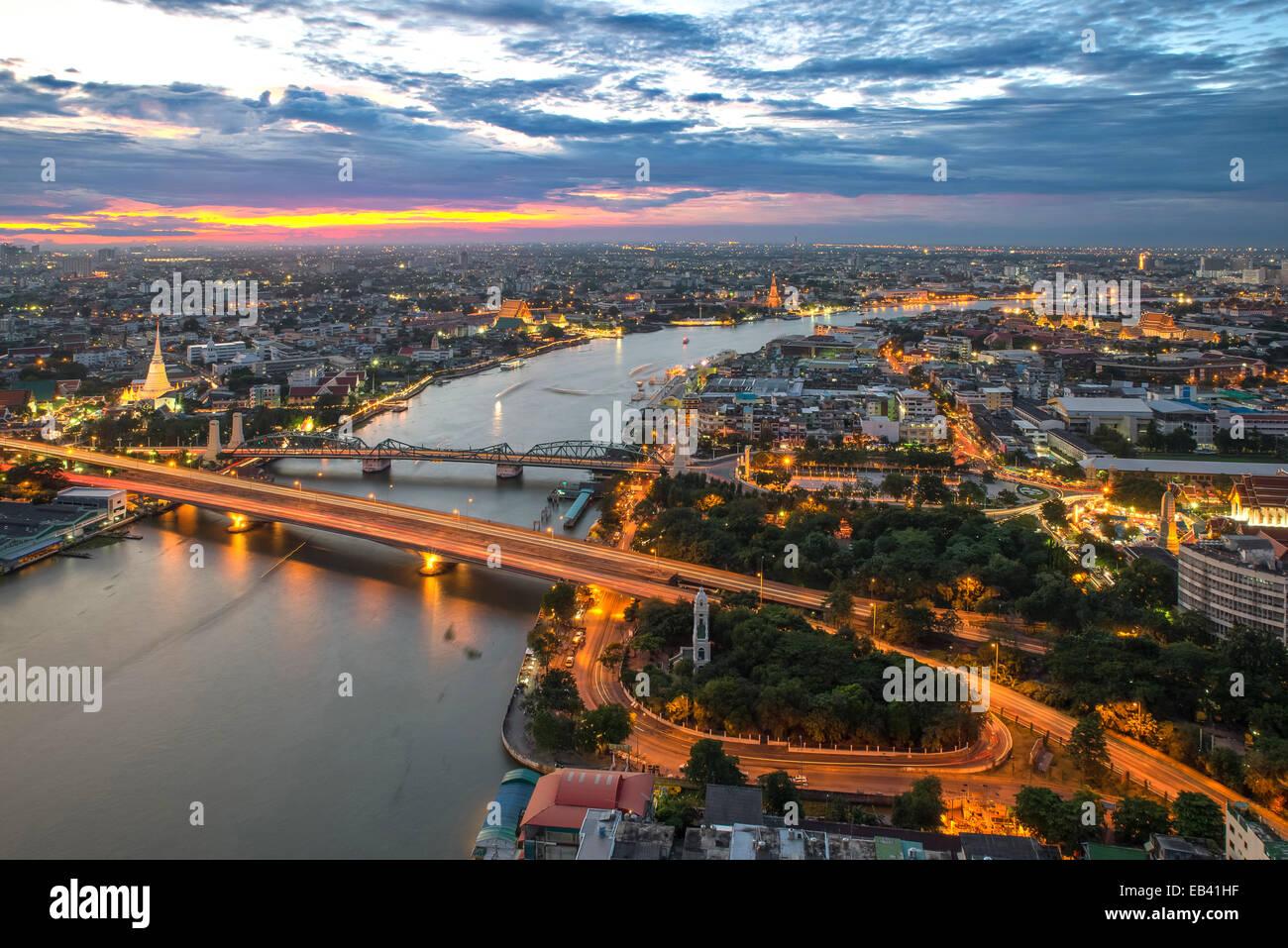 View of Bangkok city along Chao phraya River - Stock Image