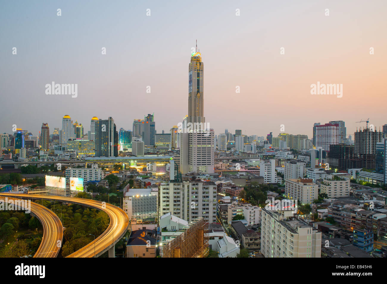 Bangkok Cityscape at twilight with main traffic - Stock Image