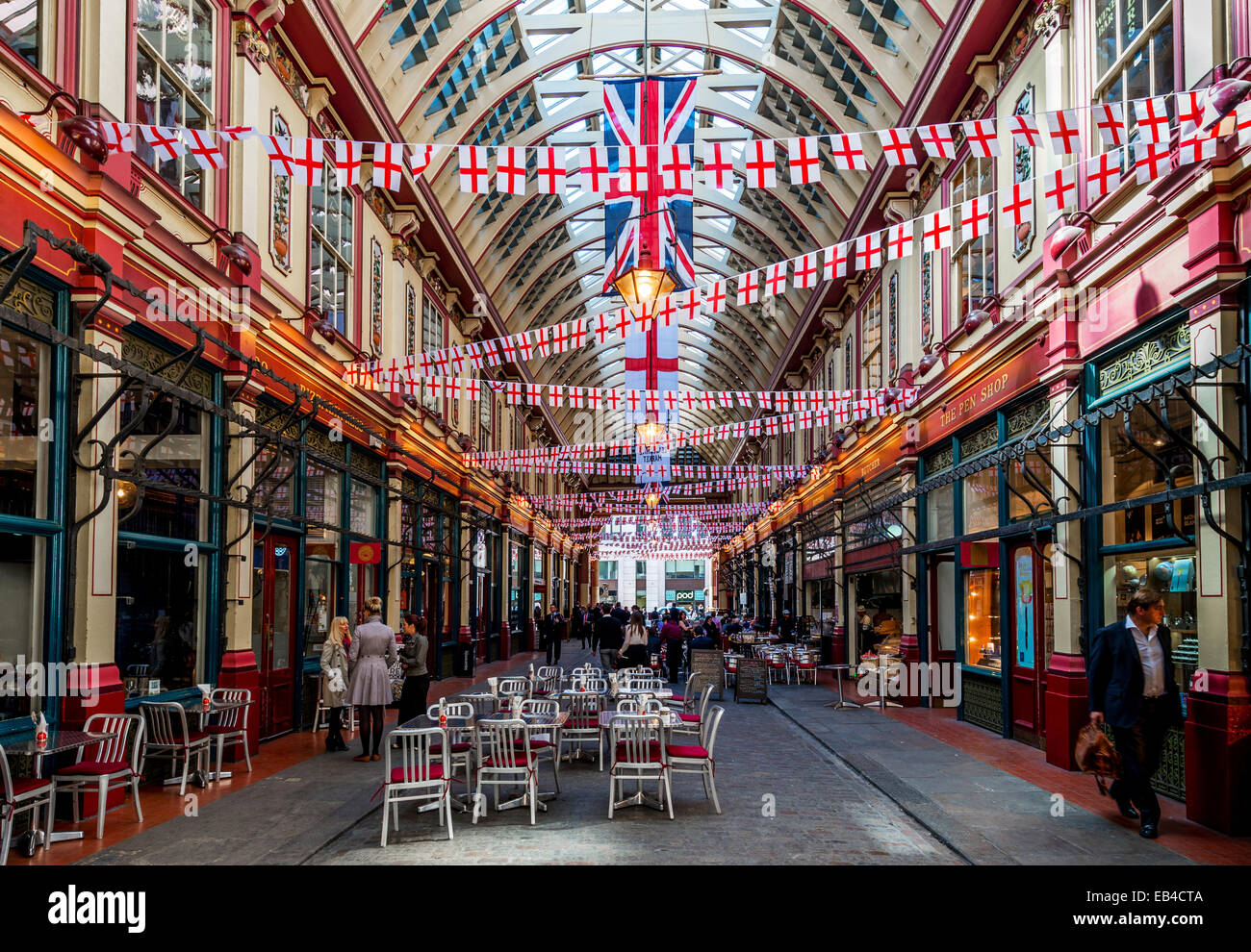 Leadenhall Market is a covered market in London, located on Gracechurch Street, City of London. - Stock Image