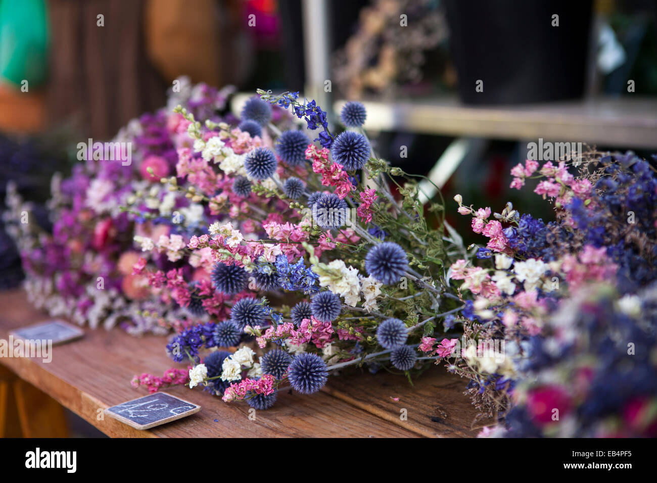 Dry flowers on the market in Provence, France - Stock Image