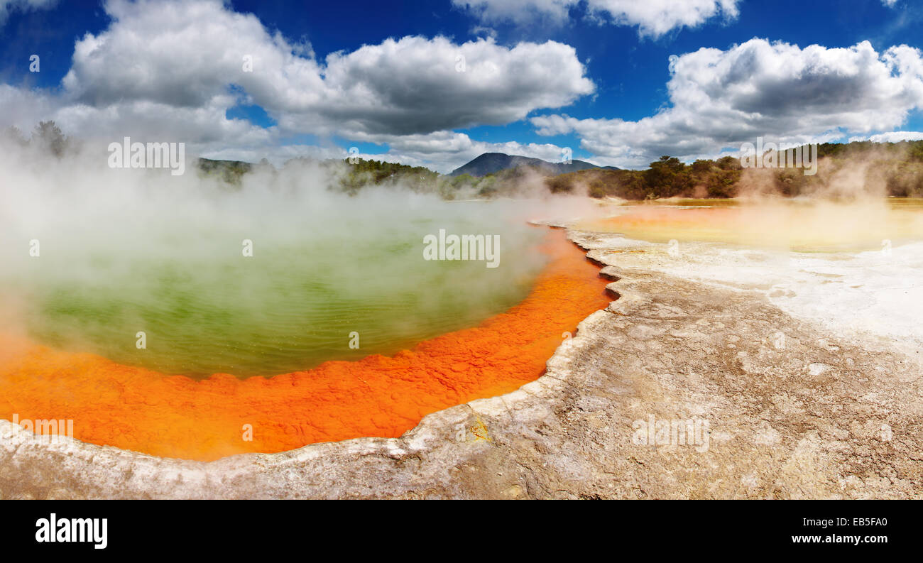 Champagne Pool, hot thermal spring, Rotorua, New Zealand - Stock Image