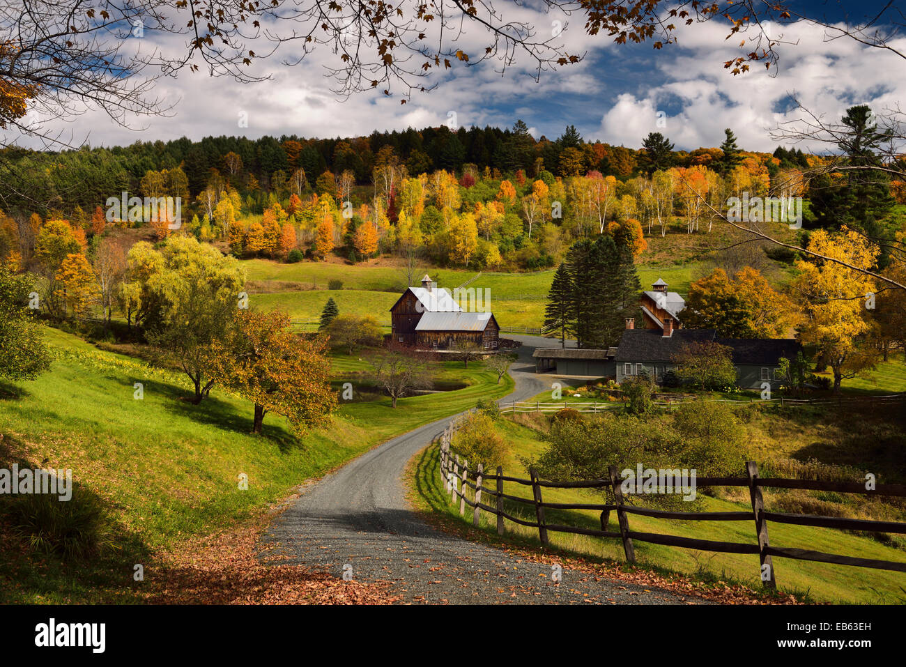Fall tree colors at Sleepy Hollow Farm Homestead on Cloudland Road Woodstock Vermont USAStock Photo