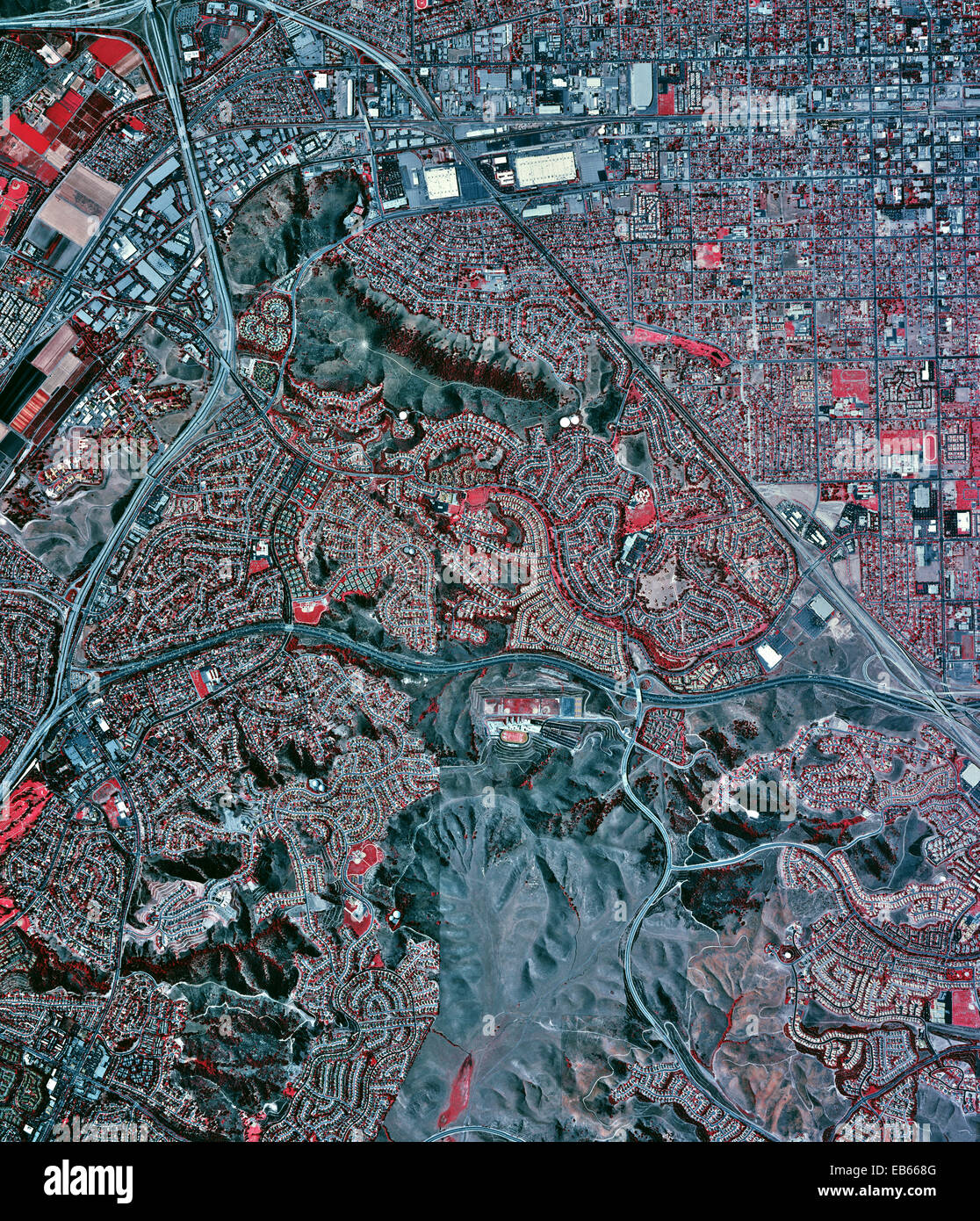 historical infrared aerial photograph of Chino, California, 2002 - Stock Image