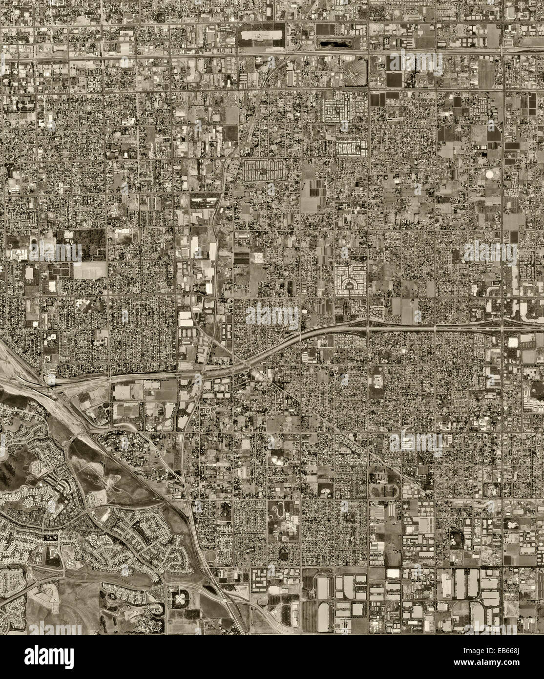 historical aerial photograph, Chino, Los Angeles County, California, 1972 - Stock Image