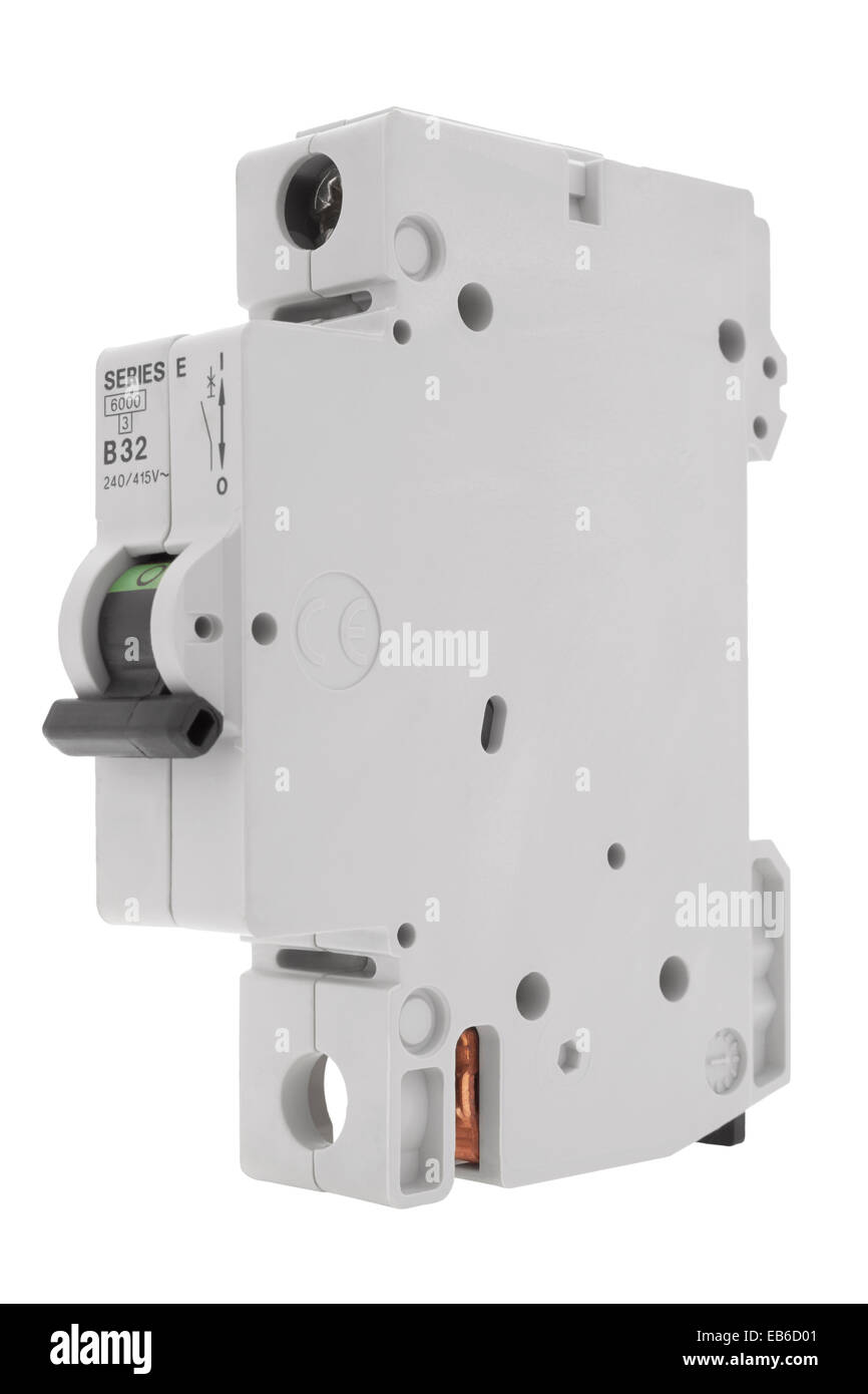 Electrical circuit breaker fuse box switch on white background - Stock Image
