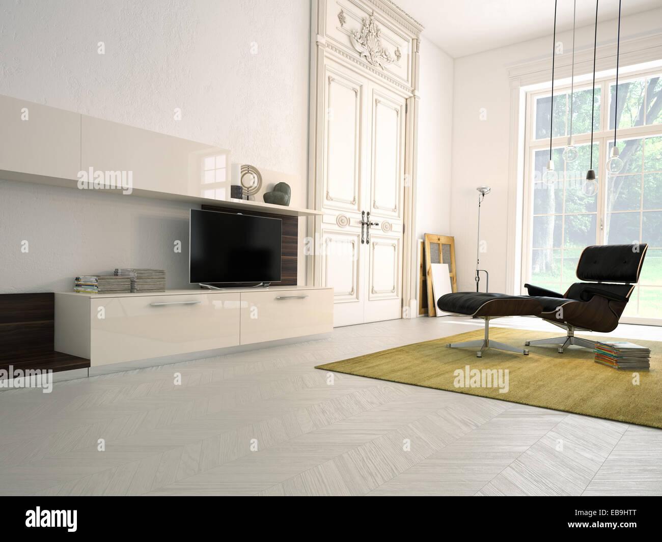 Modern Hifi modern living room with tv and hifi equipment 3d rendering stock