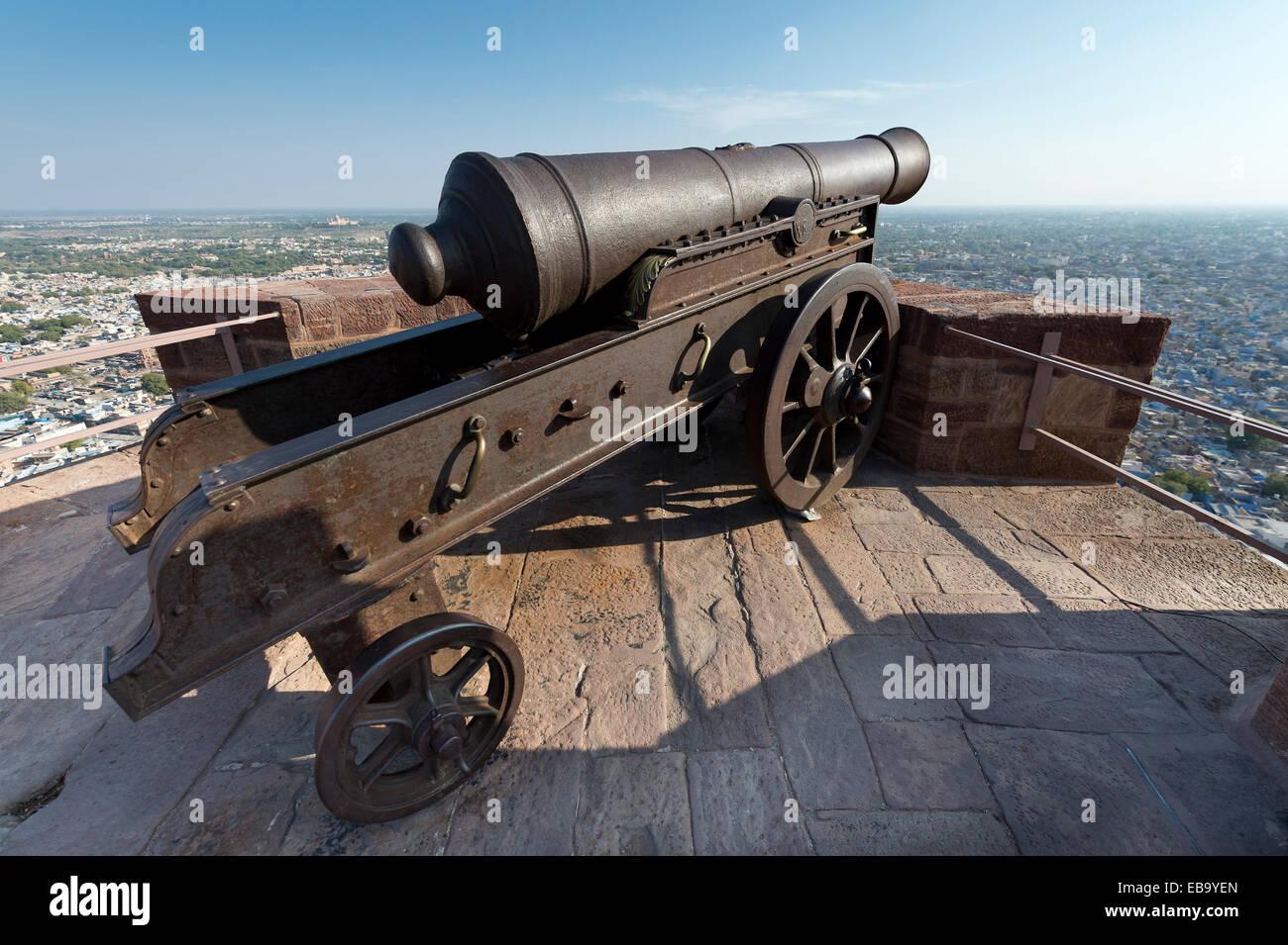 Old cannon, Mehrangarh Fort, Jodhpur, Rajasthan, India - Stock Image