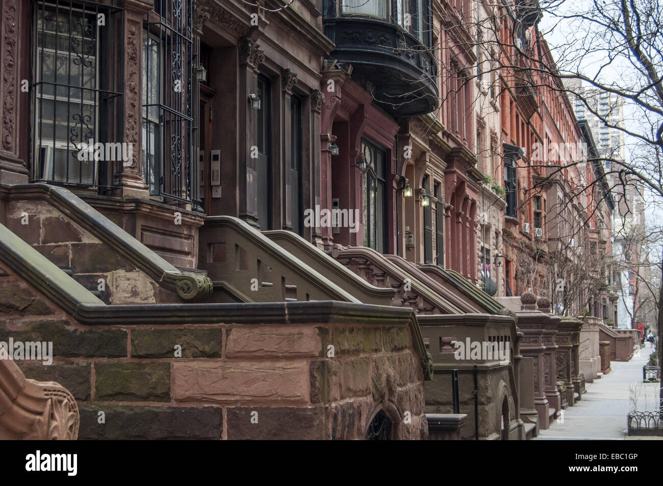 nyc apartment buildings. Front steps of apartment buildings  upper west side Manhattan New York City
