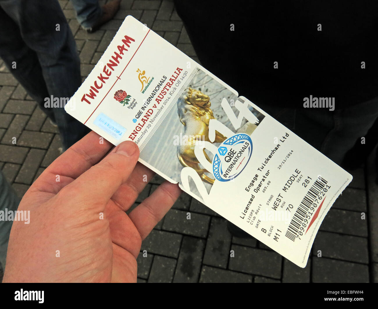 team,sport,stadium,programme,program,hospitality,stadia,stadium,ticket,hospitality,visit,trip,business,home,of,the,RFU,championship,champion,UK,GB,hand,holding,a,valid,v,verses,vs,Australia,bar,code,coded,barcode,barcoded,security,feature,features,forgery,official,gotonysmith,qbe,6nations,6,nations,six,tournament,sporting,venue,champions,united,Kingdom,Great,Britain,EnglandAustralia,international,Buy Pictures of,Buy Images Of