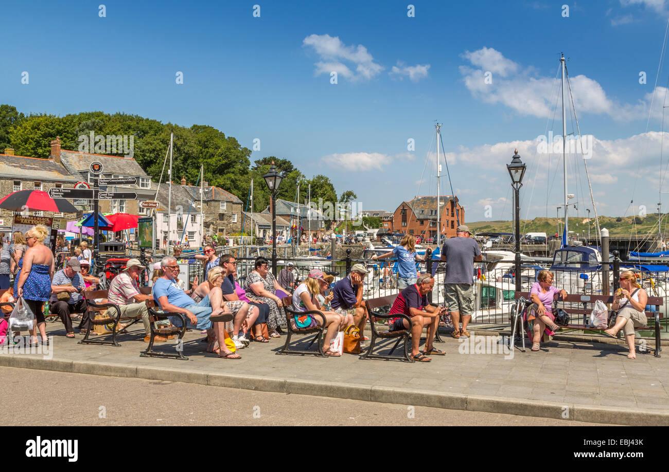 Tourists enjoying the summer sunshine in Padstow Cornwall England UK Stock Photo