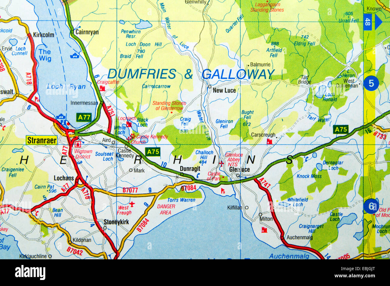 Map Of Dumfries Road Map of Dumfries and Galloway, Scotland Stock Photo: 76010896  Map Of Dumfries