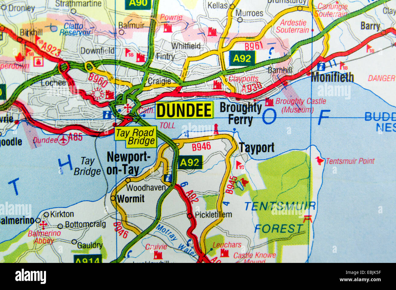Road Map of Dundee Scotland Stock Photo 76012875 Alamy
