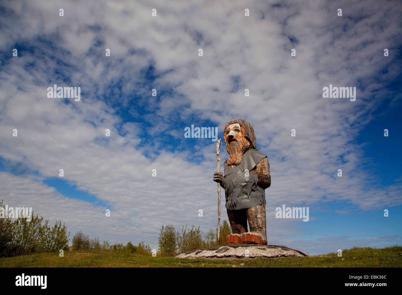 wooden sculpture of Icelandic troll, Iceland - Stock Image