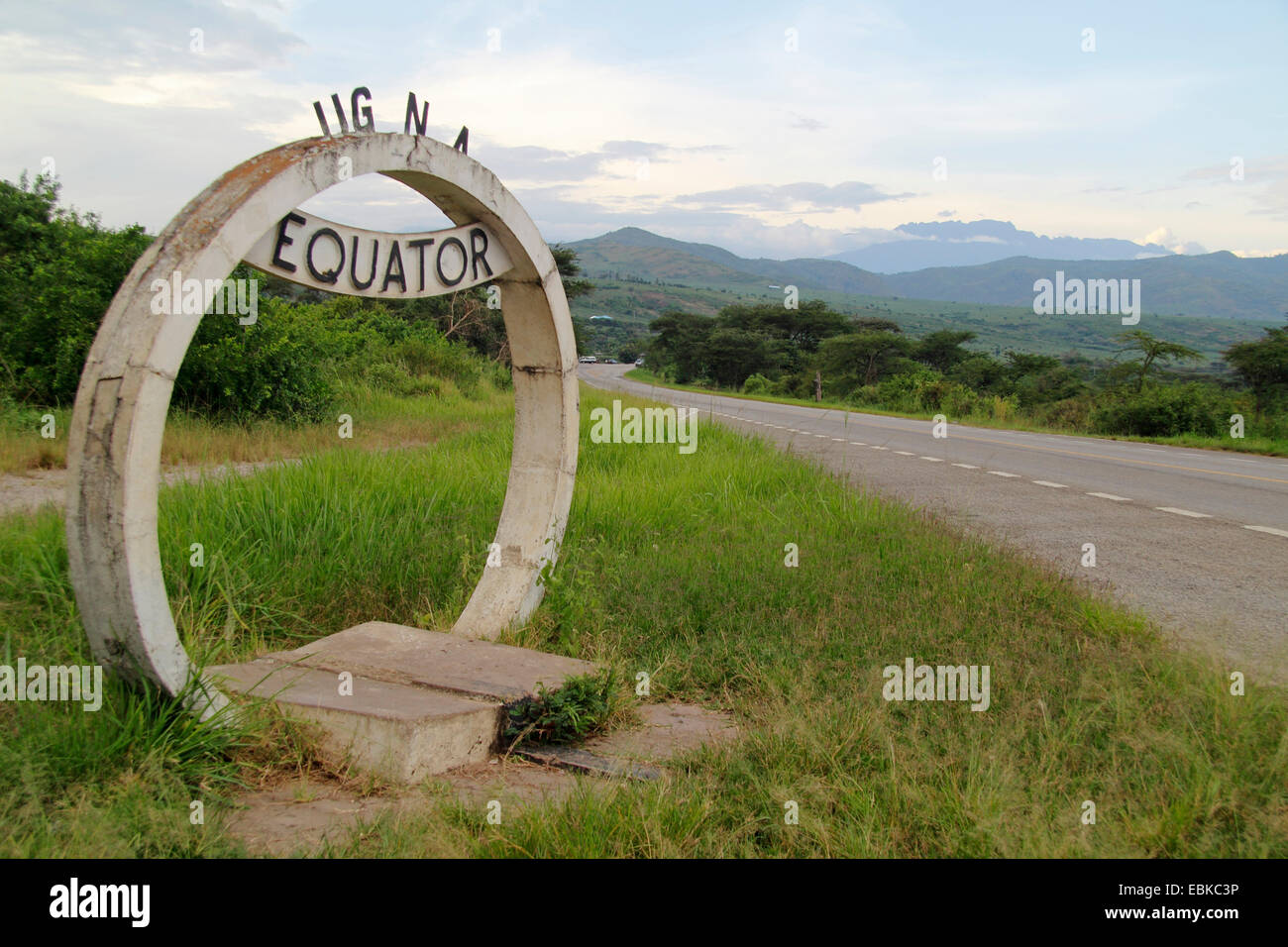 sign equator at a stree boarder, Uganda - Stock Image