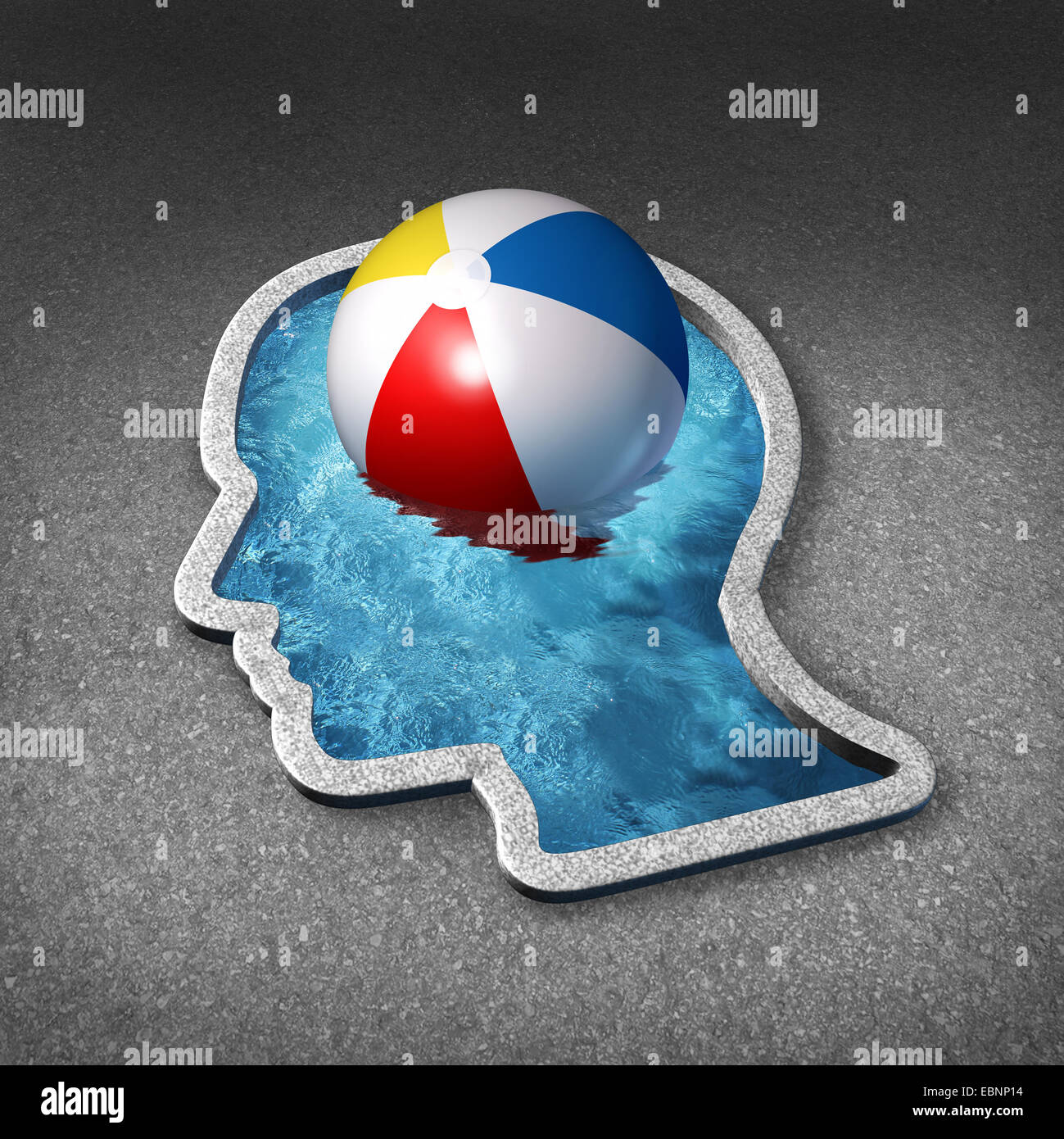 Leisure thinking concept and mental relaxation symbol as a swimming pool shaped as a human face with a beach ball - Stock Image