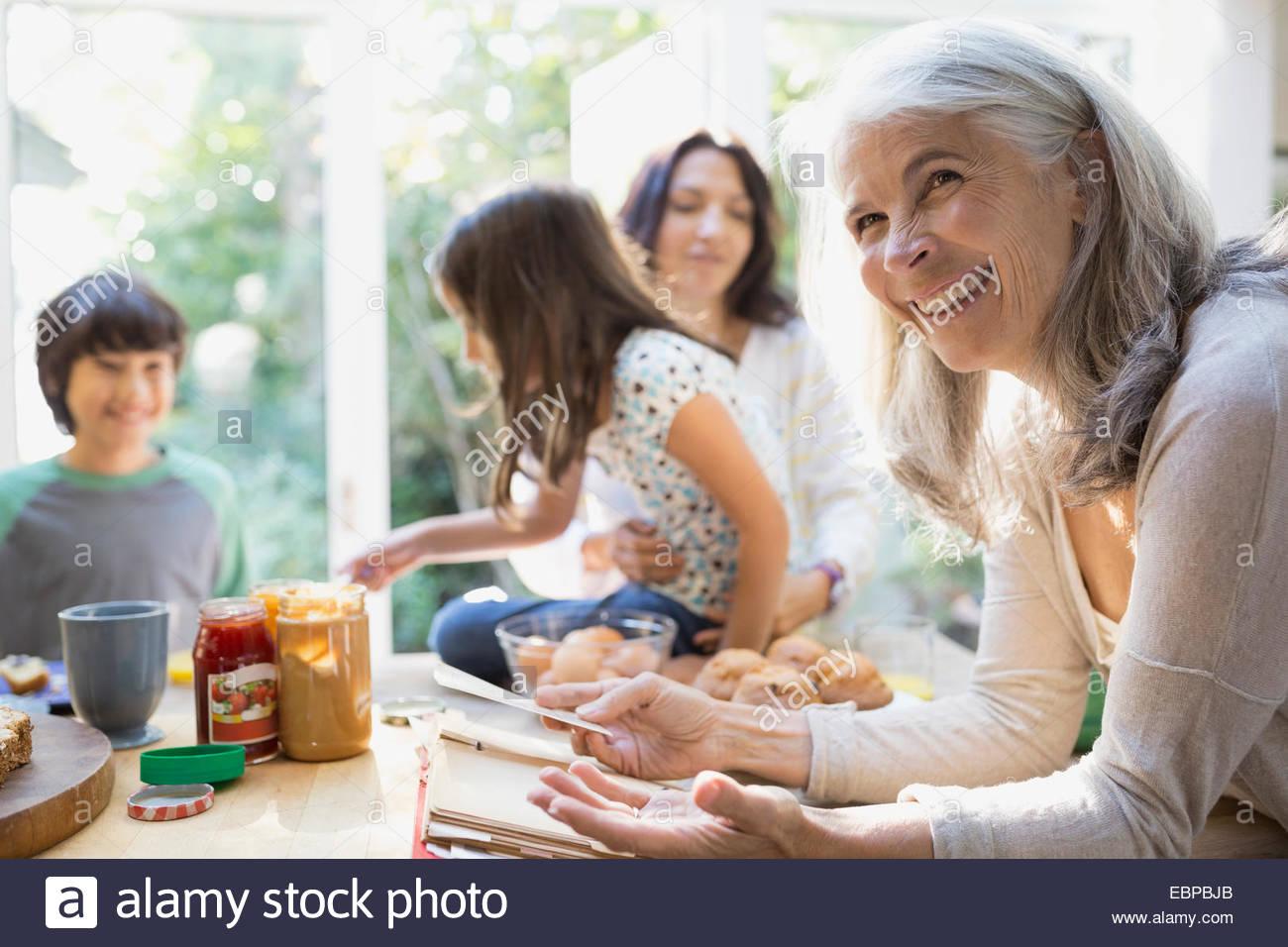 Multi-generation family in kitchen - Stock Image