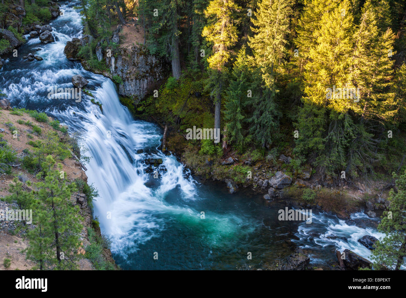 Middle McCloud Falls on the McCloud River in Northern California in early morning. Stock Photo