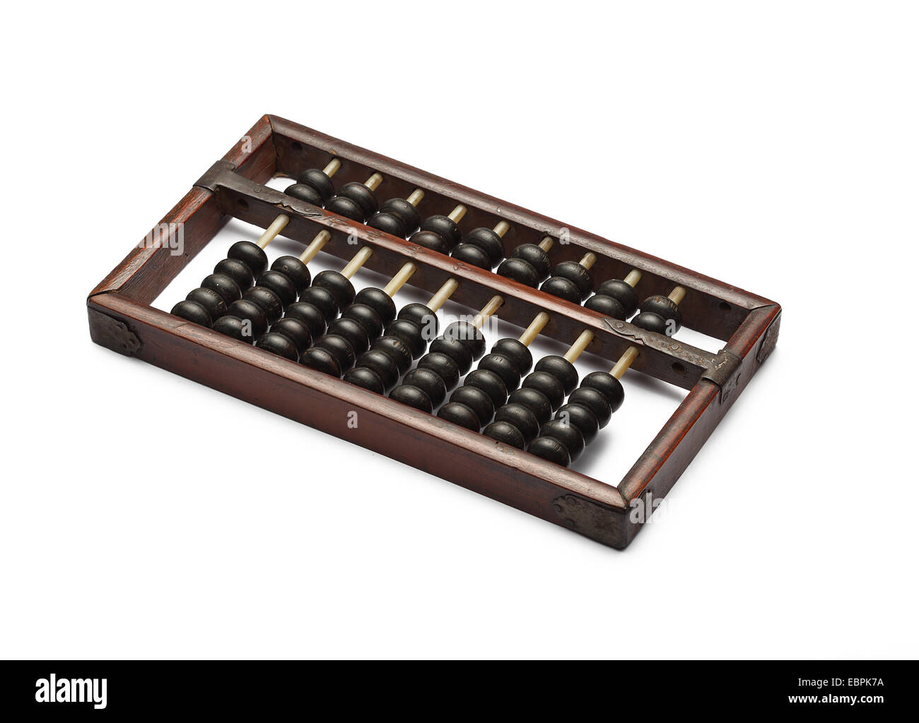 old abacus ancient classic close up isolated on white background Stock Photo