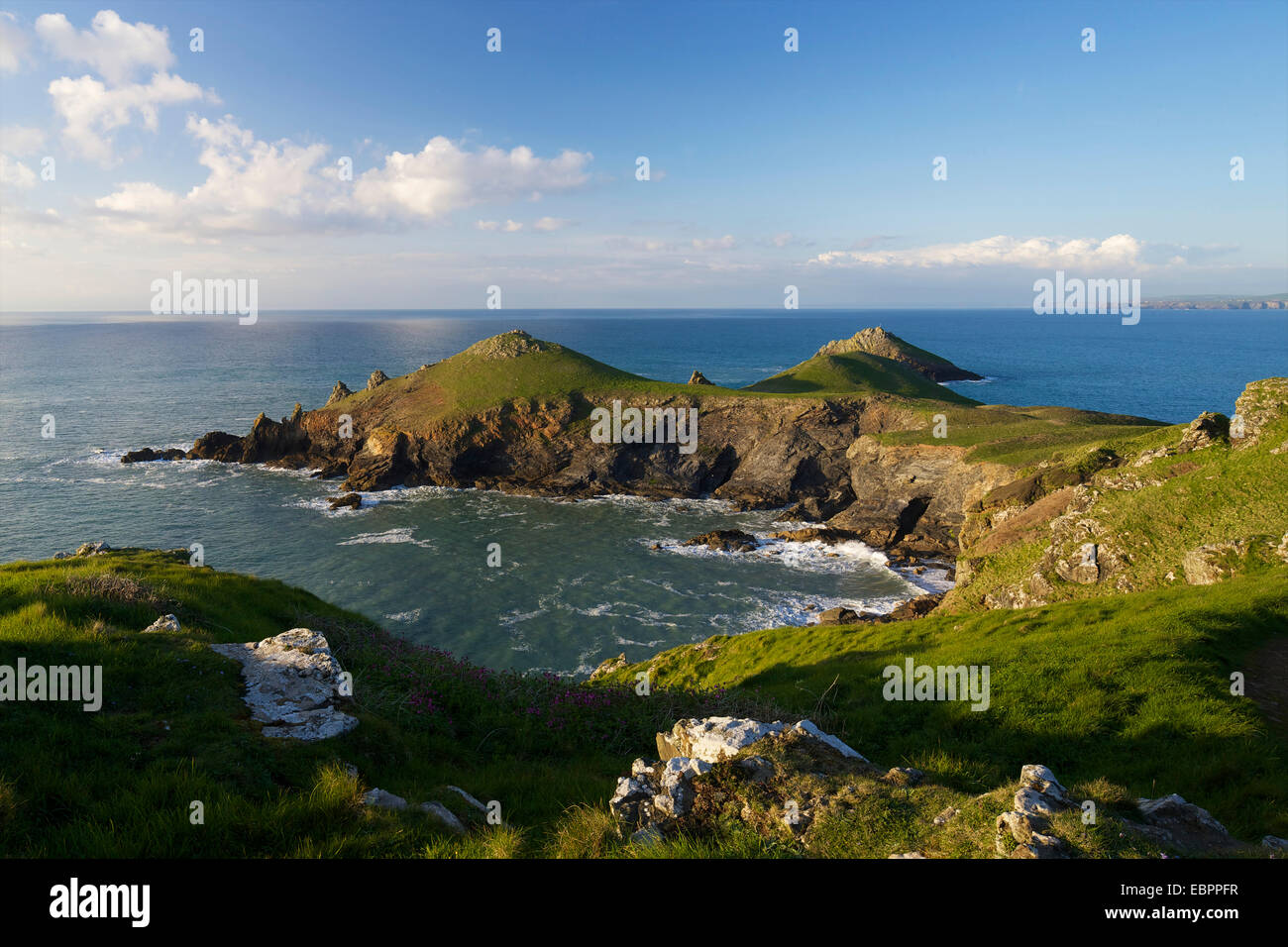 Views of Atlantic surf at Rumps Point, Pentire Headland, North Cornwall, England, United Kingdom, Europe - Stock Image