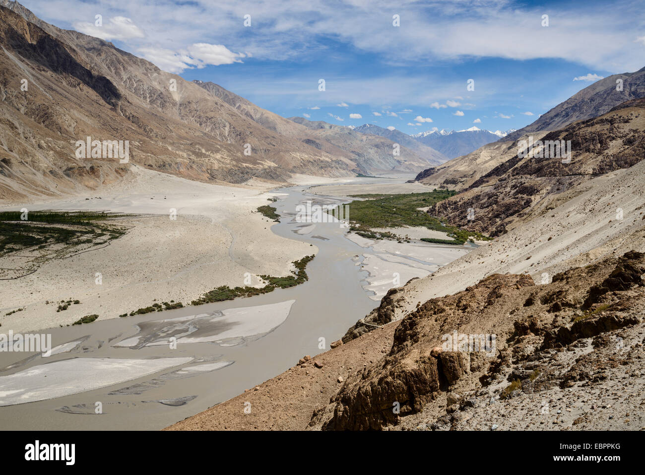 Looking down onto the fertile Nubra Valley, Khalsar, Ladakh, India, Asia - Stock Image