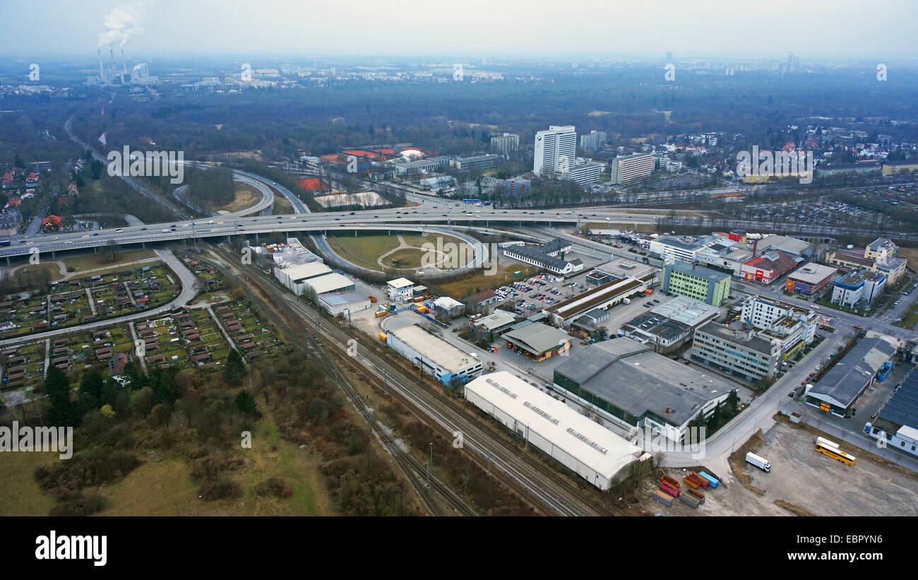 aerial view to intersection motorway Munich-Nuremberg A8 / Frankfurter Ring (Tatzelwurm), 1.3.2014, Germany, Bavaria, - Stock Image