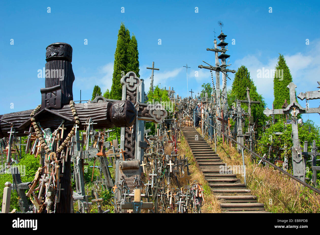 stairs to the Hill of Crosses, Lithuania, Siauliai - Stock Image