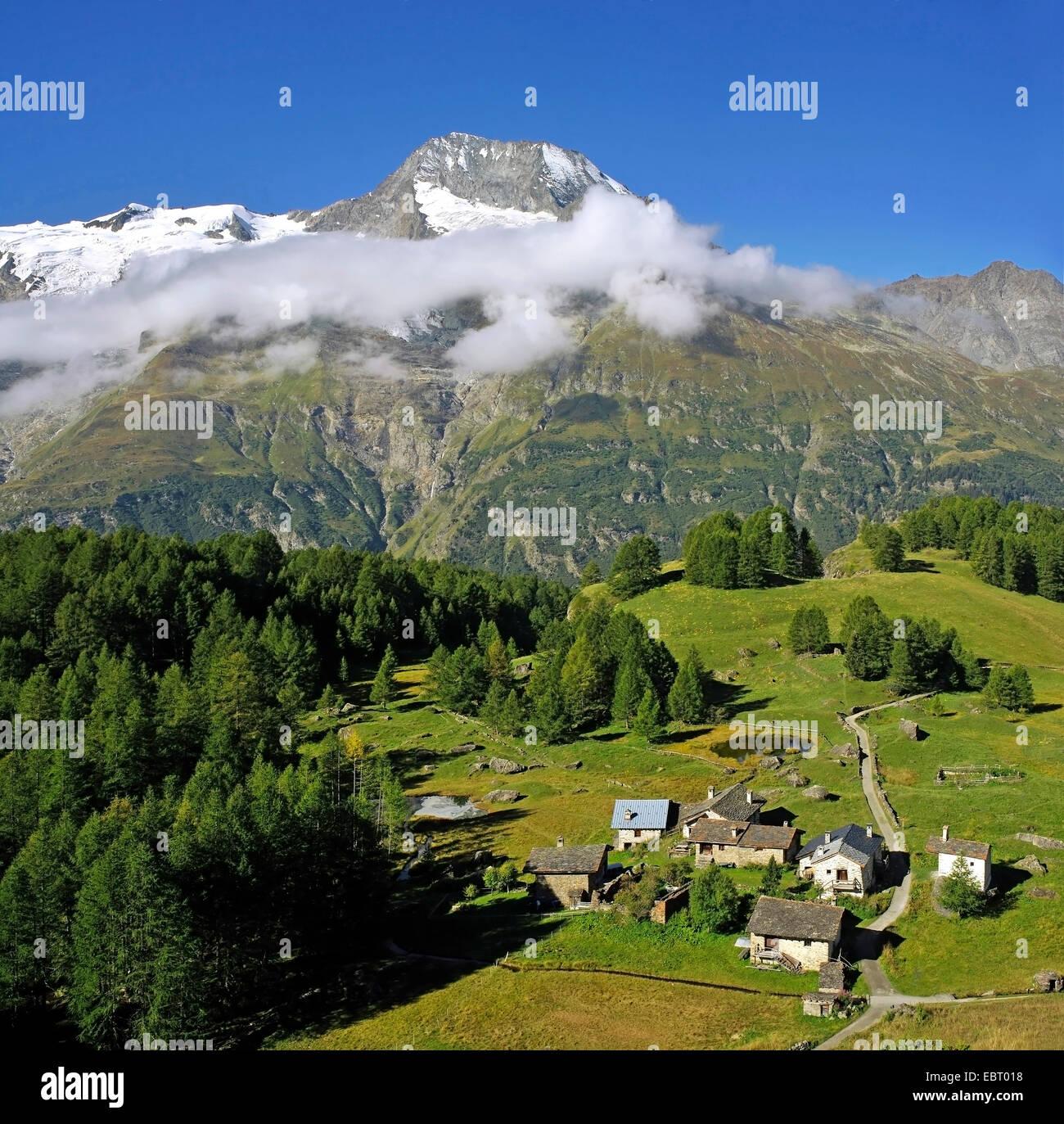 little village of Le Monal and the Mont Pourri, France, Savoie Stock ...