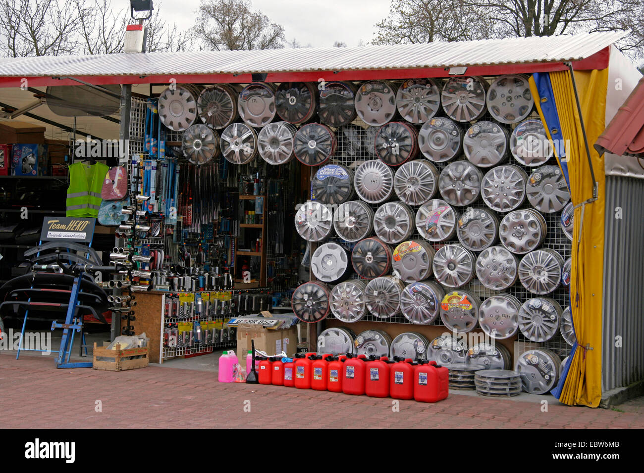 sales booth with car accessories at polish market, Poland, West ...