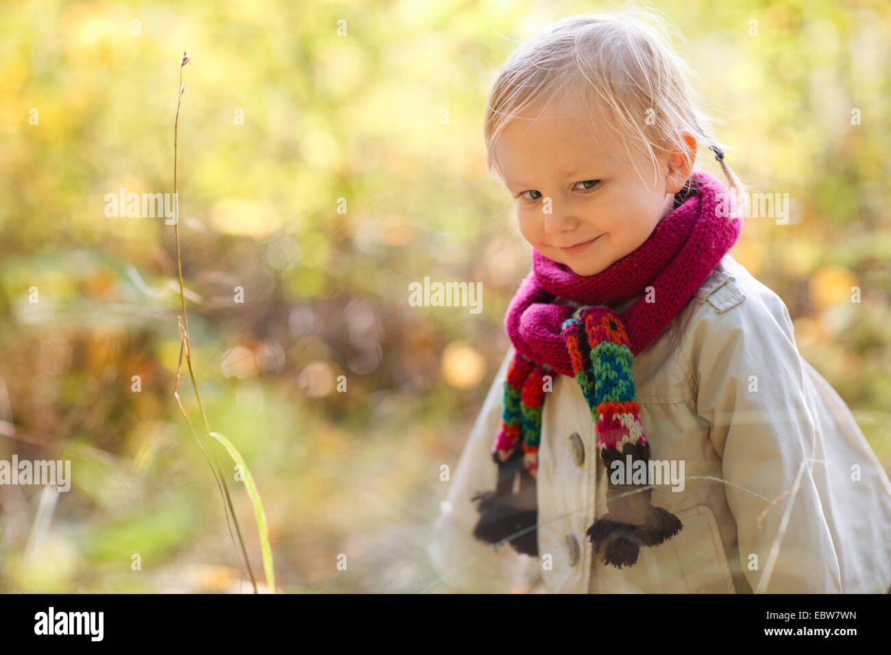 little girl with scarf - Stock Image