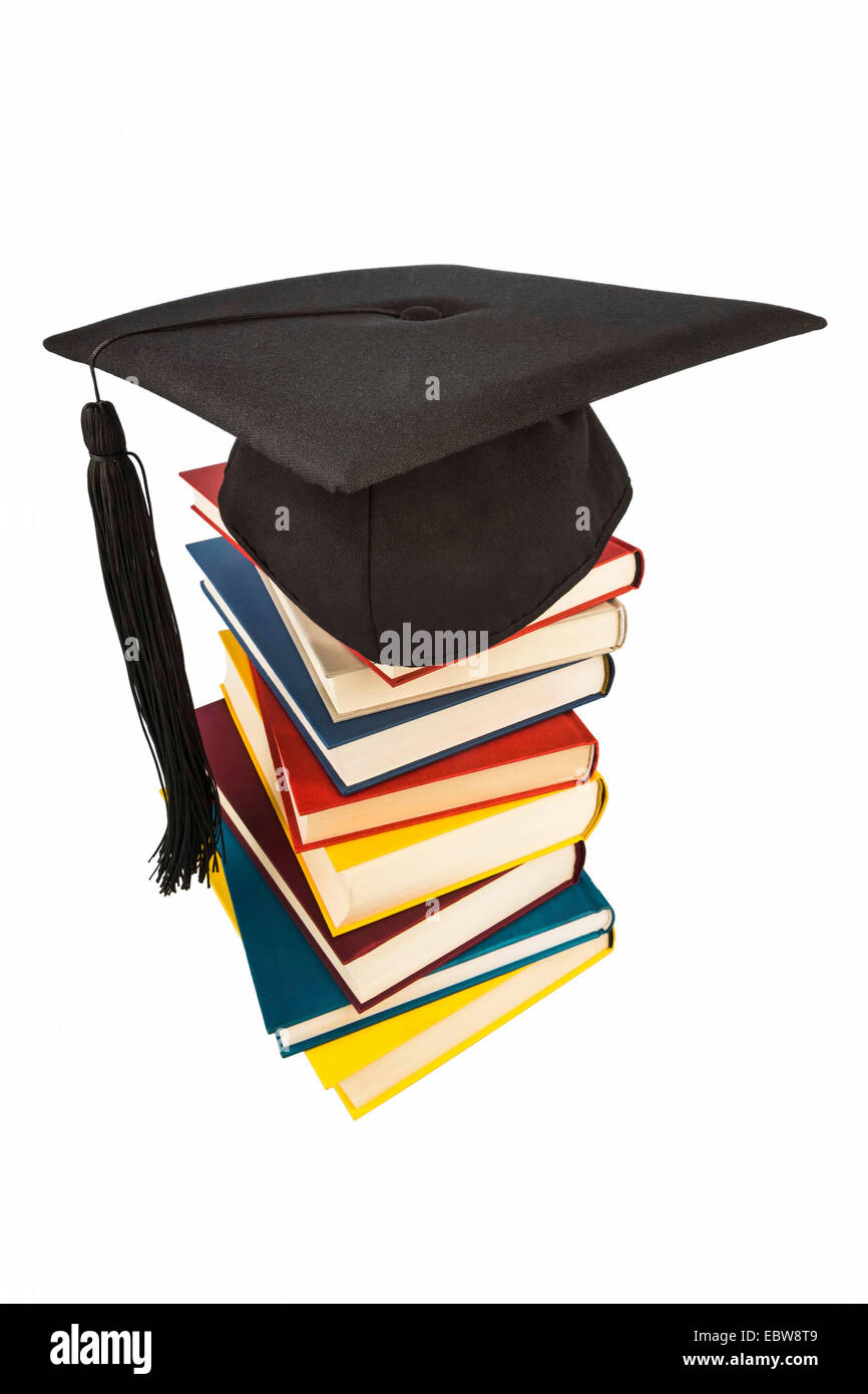 Graduation Cap On A Stack Of Books Symbol Picture For Education And