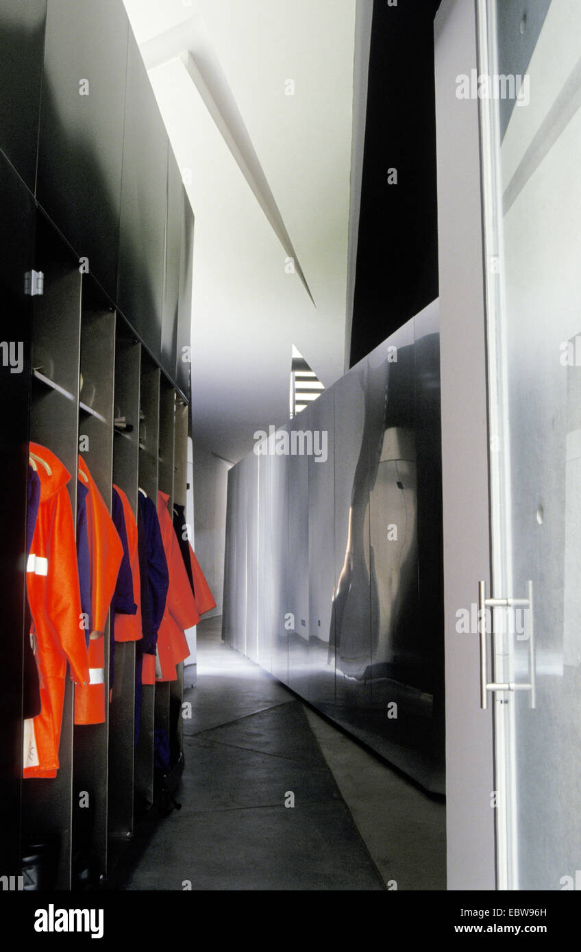 firefighter lockers, Switzerland - Stock Image