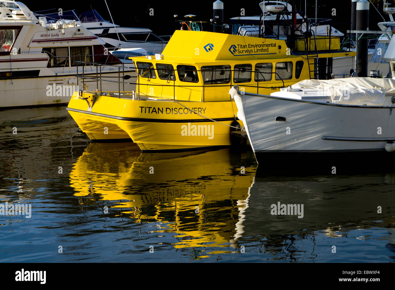 Titan Discovery boat belonging to Titan Environmental Surveys ltd, moored on River Ely, Cardiff Bay, South Wales, - Stock Image