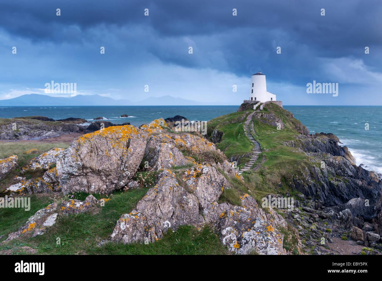 Twr Mawr lighthouse on Llanddwyn Island, Anglesey, Wales. Autumn (September) 2013. - Stock Image