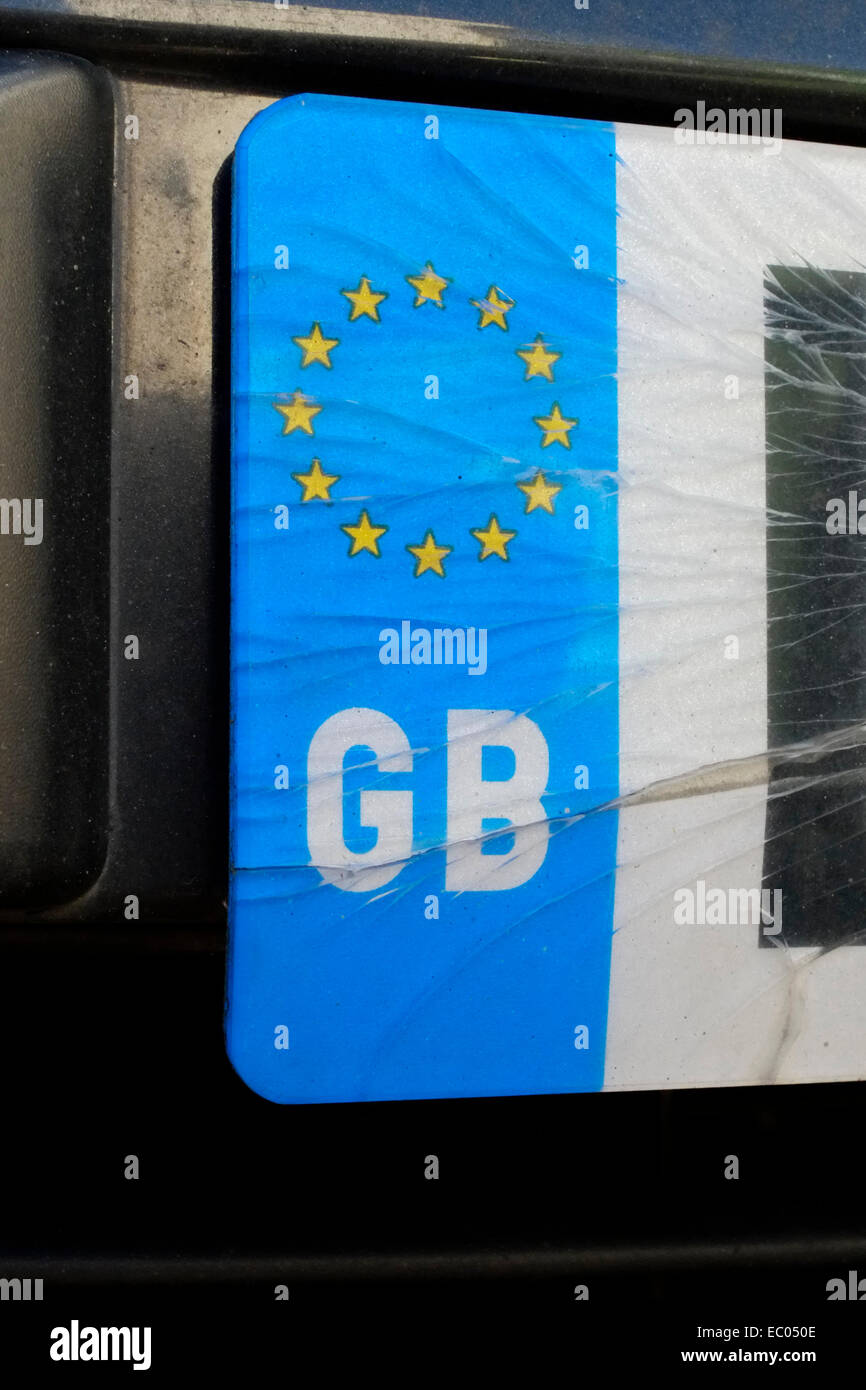 Cracked Gb Euro Car Number Plate Stock Photo 76221278 Alamy