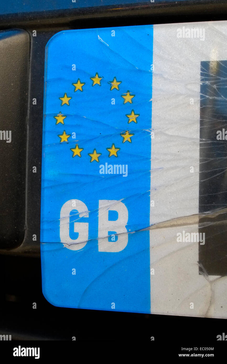 Cracked Gb Euro Car Number Plate Stock Photo 76221284 Alamy