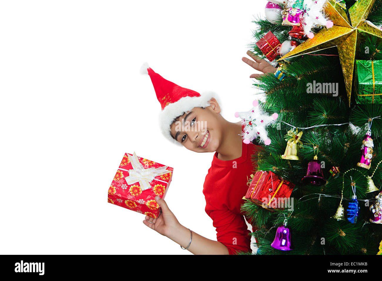 one indian boy Christmas Festival gift Stock Photo: 76255519 - Alamy