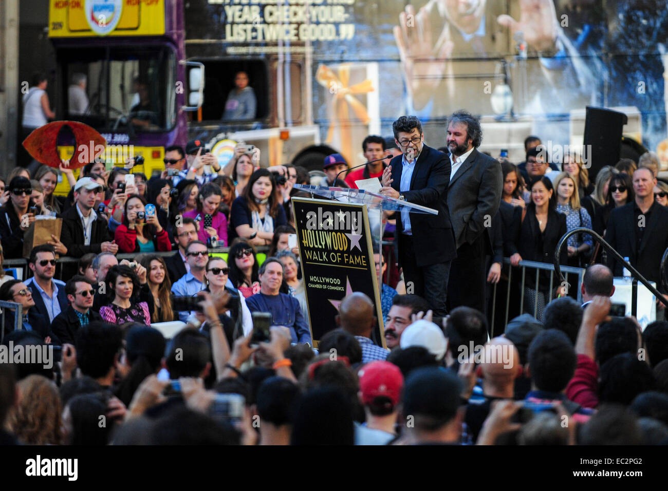 Los Angeles, USA. 8th Dec, 2014. New Zealand director Peter Jackson (R) and British actor Andy Serkis (L) attend - Stock Image