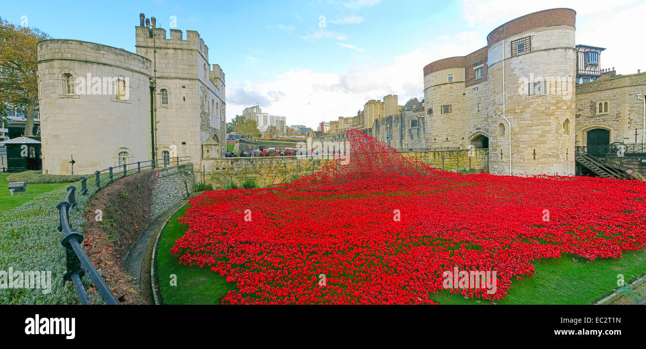 Tower,of,Greater,London,England,UK,installation,art,moat,between,July,and,November,2014,commemorating,the,centenary,of,the,outbreak,of,World,War,I,one,ceramic,poppies,888,246,British,or,Colonial,serviceman,killed,in,the,War,Paul,Cummings,Cummins,Tom,Piper,attraction,2014,tourist,tourism,red,flower,Gotonysmith,first,line,of,a,poem,by,an,unknown,World,War,I,soldier,pool,of,blood,which,appeared,to,be,pouring,out,of,a,bastion,window,(the,Buy,Pictures,of,Buy Images Of,Weeping,Window,remembrance,respect,ex-serviceman,ex-servicemen,flowers,summer,autumn,sun,sky,blue,bluesky,panorama,wide,shot,angle,lens,,,