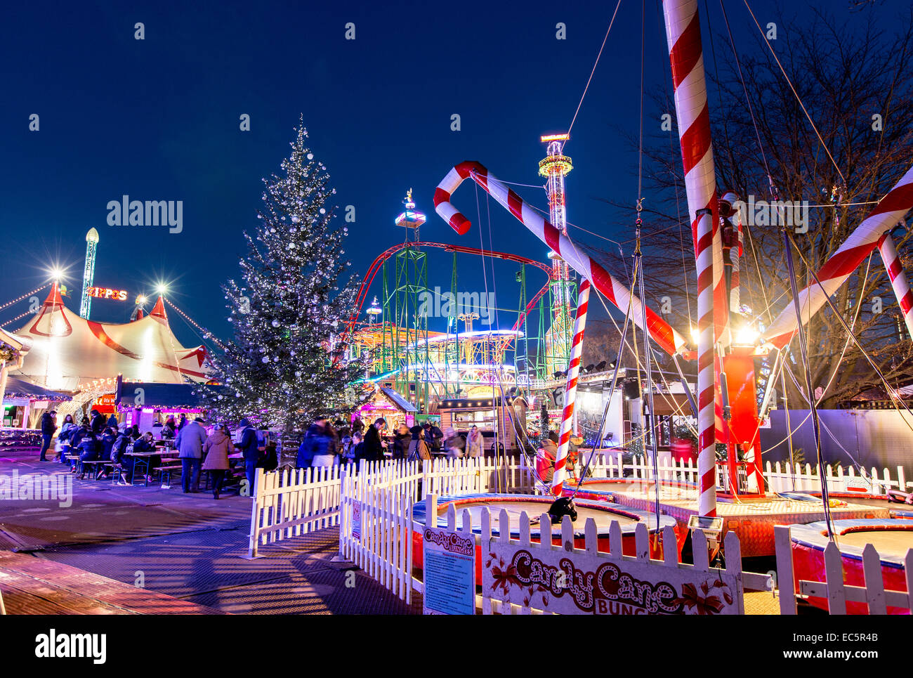 Winter Wonderland Hyde Park at Night London UKStock Photo