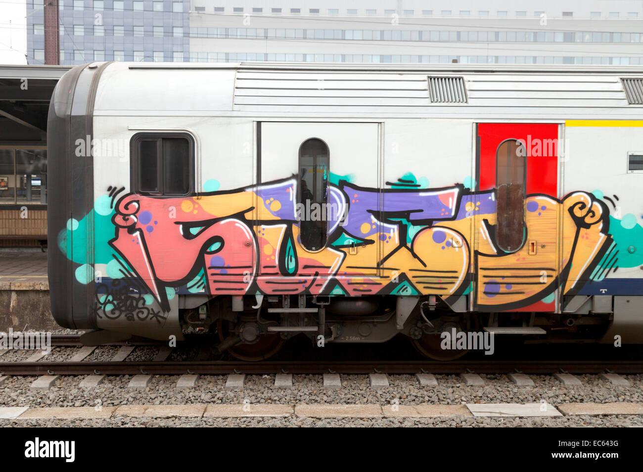 Colourful Graffiti On A Train In Belgium Europe Stock Image