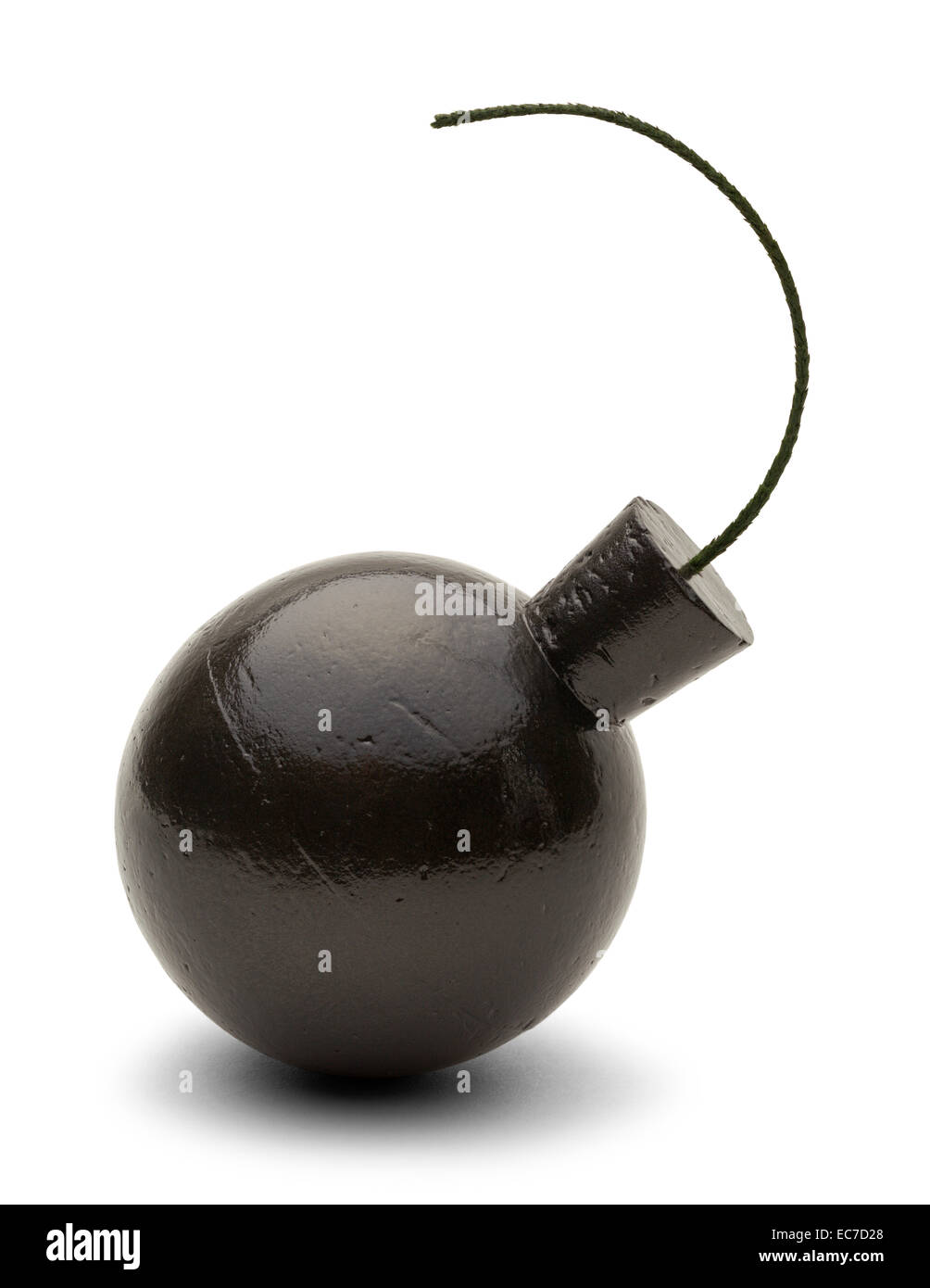Round Metal Bomb with Fuse Isolated on White Background. - Stock Image