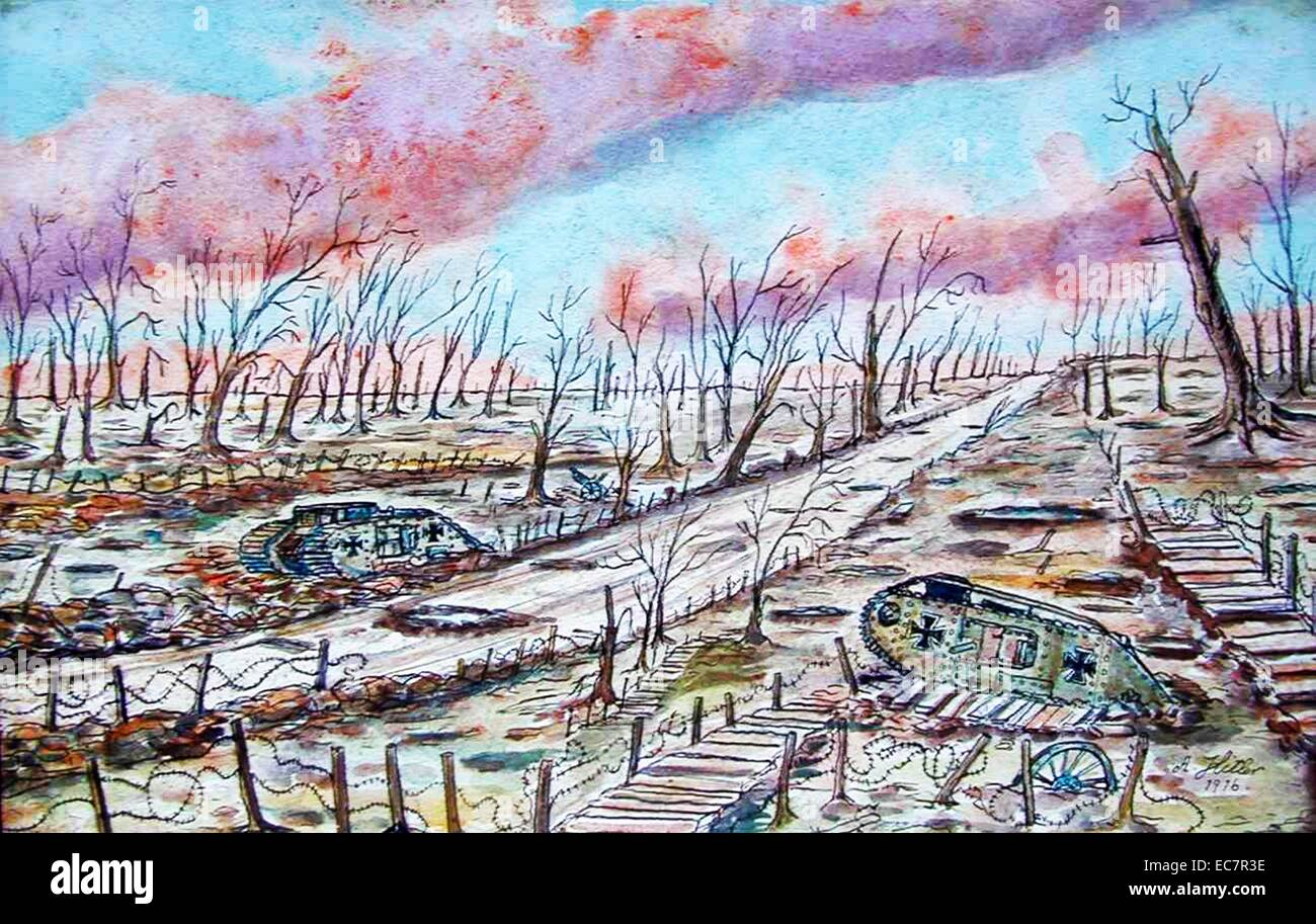 Painting titled 'Tank Battleground' by Adolf Hitler (1889-1945). Dated 1916 - Stock Image