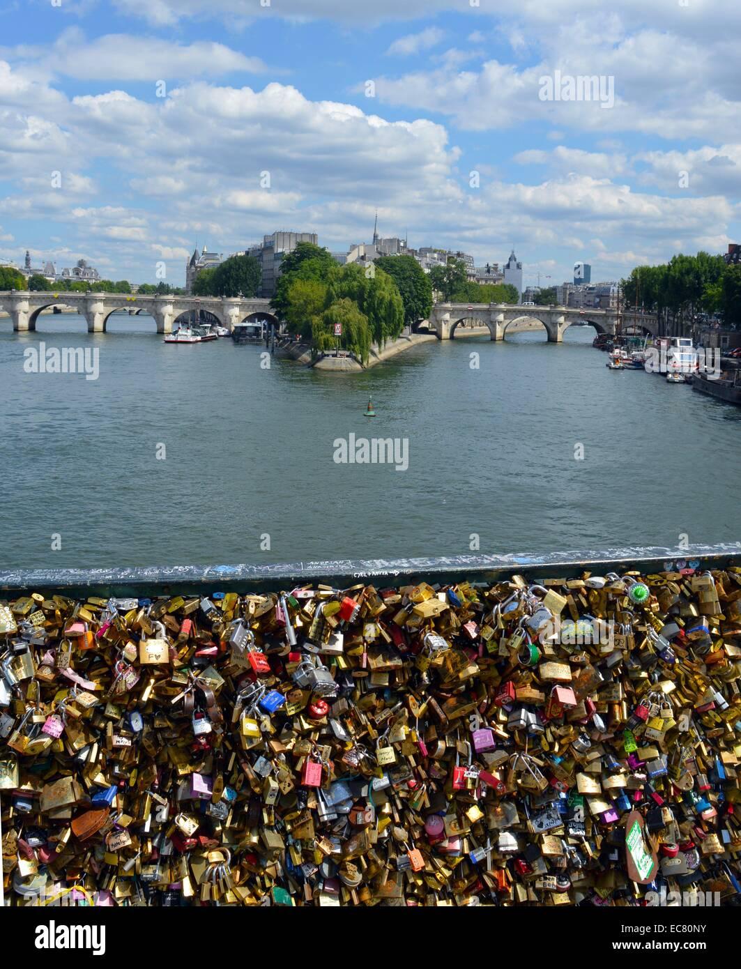 Photograph of the Pont des Arts Bridge - Stock Image