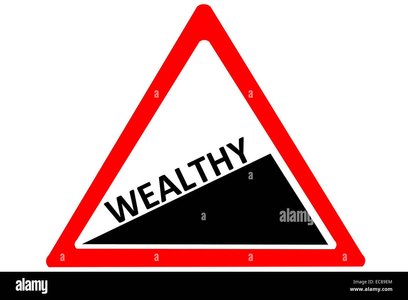 Wealthy increasing warning road sign isolated on pure white background - Stock Image