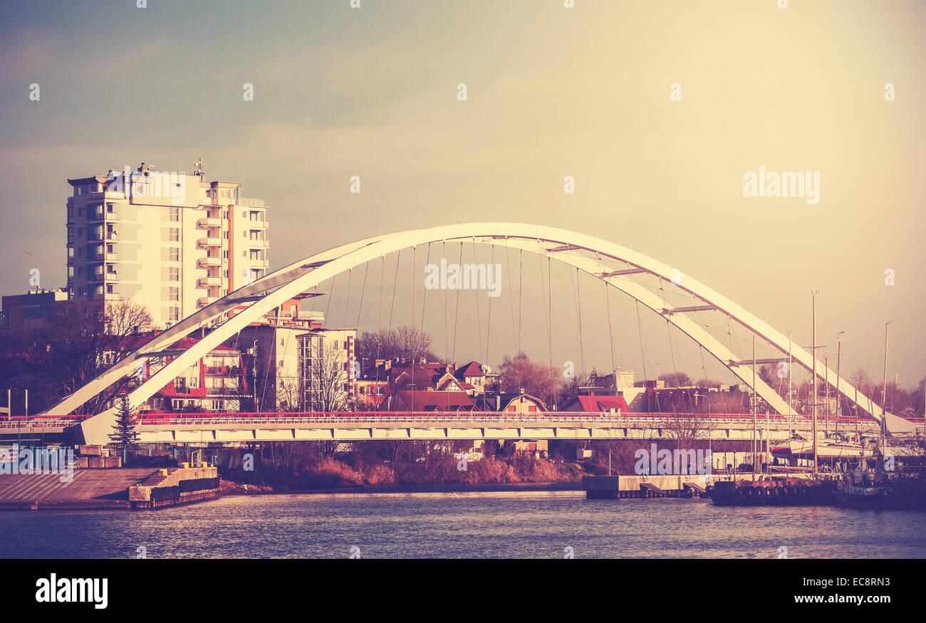 Retro vintage filtered picture of a bridge in Kolobrzeg, Poland. - Stock Image
