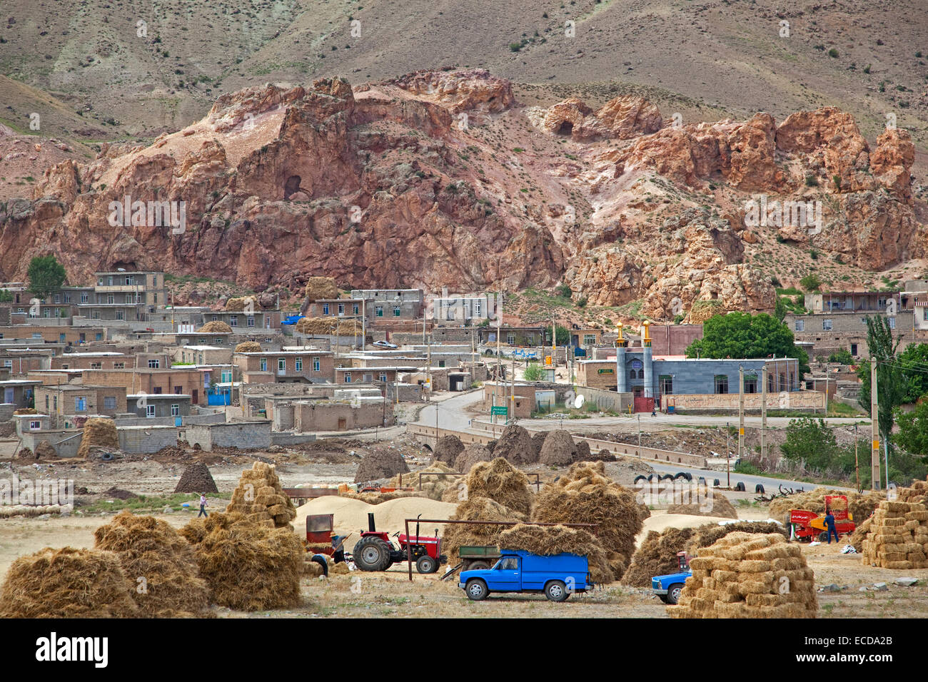 Traditional agricultural village near Ardabil in Iran - Stock Image
