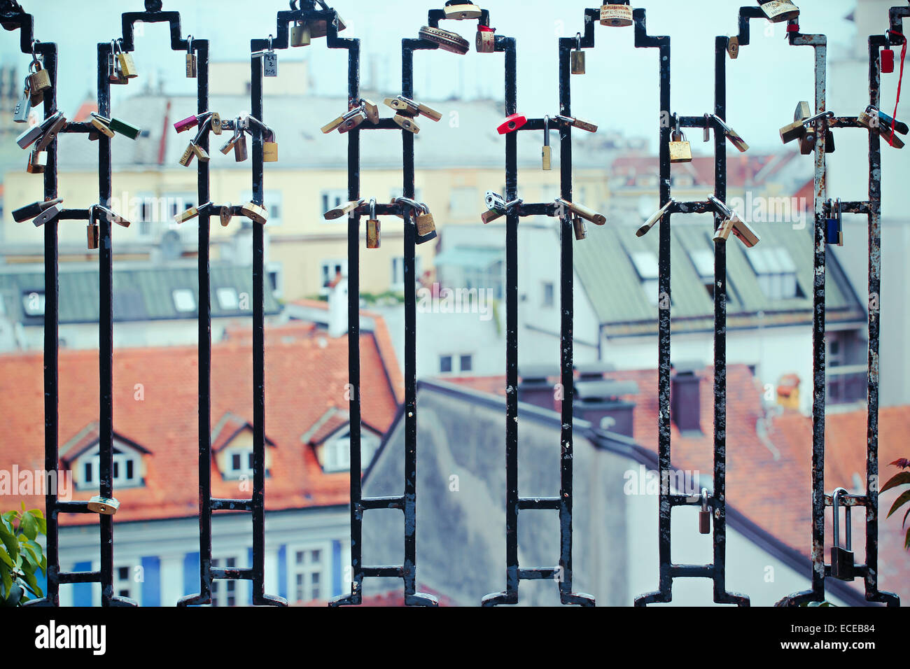 City skyline seen through railings, Zagreb, Croatia - Stock Image