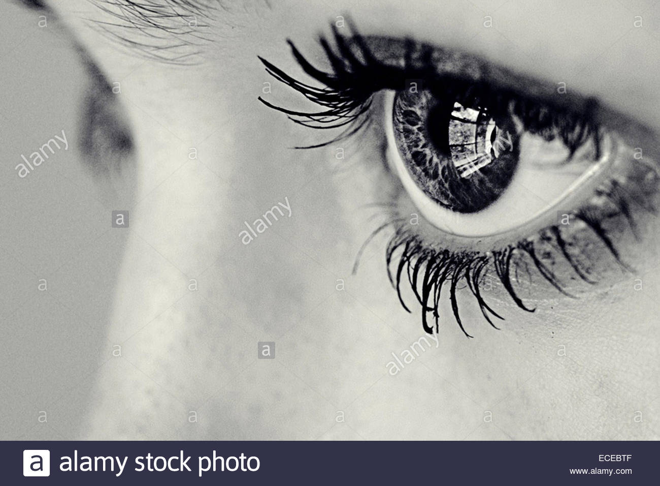 Close-up of a girl's eye with a window reflected in it - Stock Image