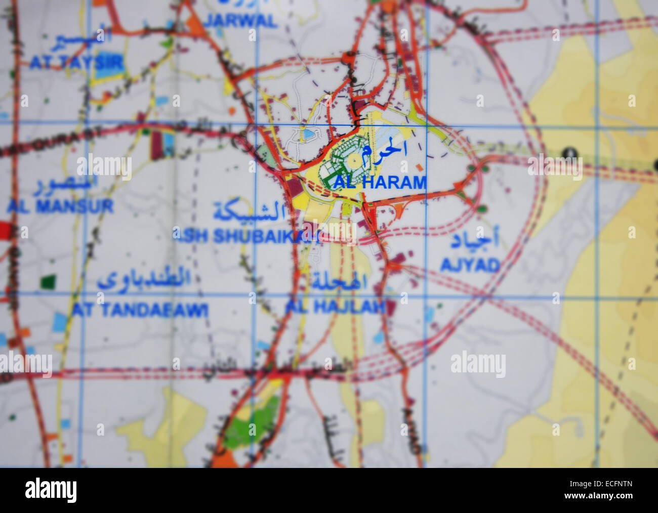 Mecca map and Masjidil Haram in Kingdom of Saudi Arabia Stock Photo ...